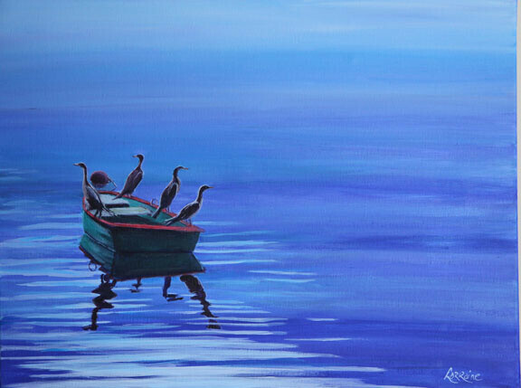 Cormorants on Dory - Sold