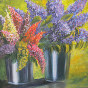 Pails of Flowers - SOLD