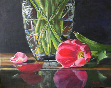 Reflections of Pink and Green--Sold